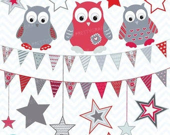 80% OFF SALE owls flags and stars clipart commercial use, vector graphics, digital clip art, digital images - CL413