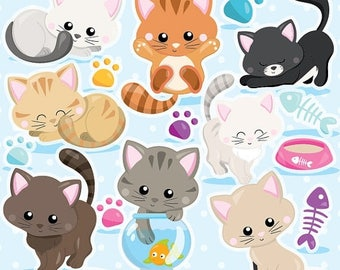 80% OFF SALE Cat clipart commercial use, kitten cats clipart vector graphics, kitty clipart digital clip art, digital images - CL979
