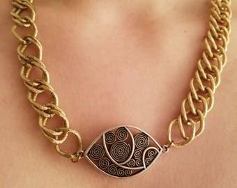 Beautiful Vintage Goldtone Metal Silver Modern Link Chain Necklace