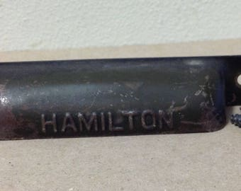 """1930 Hamilton printers tray drawer pull metal steel 4"""" thin from Printers cabinet letterpress typeset"""