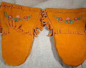Cree Stitchwork Leather Gauntlet Gloves 1930s-40s
