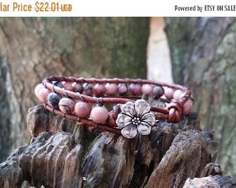 SUMMER SALE rhodonite leather wrap bracelet single wrap earthy bracelet apple blossom button red brown leather boho bracelet