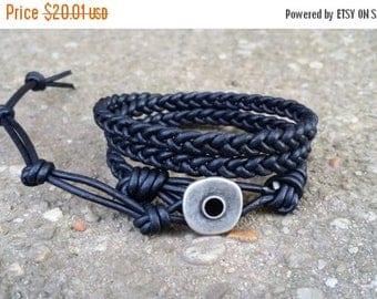 SUMMER SALE braided leather wrap bracelet 3x wrap triple wrap black leather boho bracelet hippie bracelet