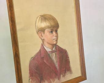 Vintage Original Pastel Chalk Portrait by Wainwright of Young Boy