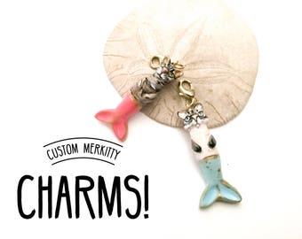 Merkitty, Purrmaid, Polymer Clay Purrmaid Charm, Cat Mermaid charm, Handmade Charms, Cute Charm, Purr Maid