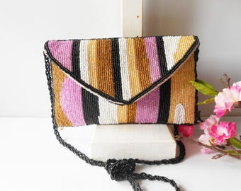 Multi-Color Evening Bag, Beaded Evening Bag, Vintage Beaded Bag, Multi-Color Clutch Bag, Lavender Gold Black, Striped Clutch Bag EB-0030