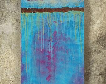 Blue Abstract Painting vertical textured wall art A98 Acrylic Original Contemporary Art KSAVERA canvas mid century modern art