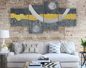 Abstract paintings grey yellow 90x190x4 cm OOAK XXL OFFICE decor a74 original abstract art by Ksavera