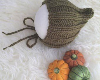 Khaki green baby elf bonnet newborn 0 to 3 months autumn fall photography prop RTS woodland leaves forest pumpkin elf pixie bonnet hat