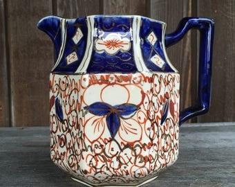 Wadeheath octagonal jug Imari pattern 1930s