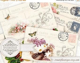 ON SALE Set of 6 cards 5.8x9.2 cm. Vintage Post Cards. Digital collage sheet for scrapbooking or packaging.