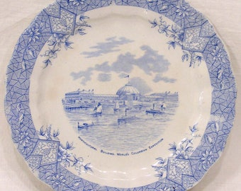 1893 Worlds Fair Blue Wedgwood Plate Depicting the Horticultural Building Columbian Expo