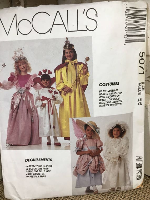 McCalls 5071, McCalls Halloween sewing pattern, little princess sewing pattern, size 5, 6 childrens pattern, vintage princess costume