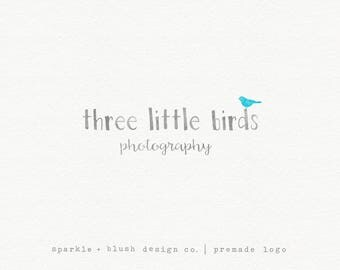 Premade Photography Photographer Logo Simple Lowercase Three Little Birds Blogger Small Business Design Fun Sweet Cute Adorable (e973)