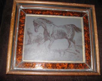 """GLASS HORSE ETCHING Clear Glass Mother & Foal Surrounded by Amber Glass Border Antique Wood Frame 14 1/4"""" x 12"""" Metal Filigree On Back"""