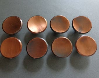 8 Round Cabinet Knobs Antique Copper With Black Color Dresser Drawer Door  Hardware Concave Top Modern