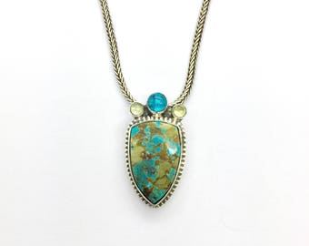 Turquoise Necklace, American Turquoise with Gemstones Pendant