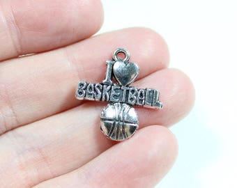 Antique Silver I Love Basketball Charms Quantity 6