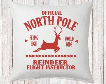 Reindeer Flight Instructor Pillow and Insert North Pole Christmas Decoration Christmas Saying Holiday Pillow Red White Christmas