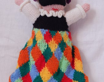 Hand knitted wool Harlequin doll