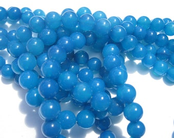 """6 """"blue colored agate"""" beads 8 mm (9-9)"""