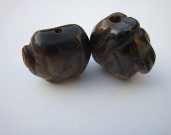 """Tiger eye"" stone drilled 11x14mm (2)"