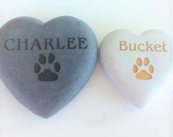 Pet Memorial Stone, Engraved Heart Rock with Your Pets Name