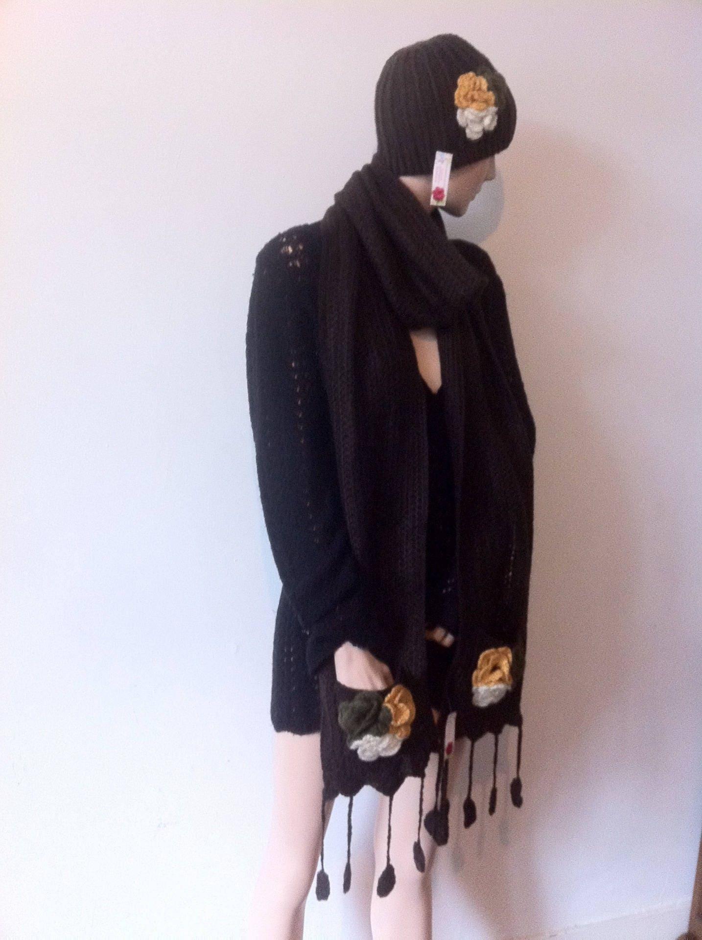 un ensemble femme echarpe femme et bonnet en laine fait main. Black Bedroom Furniture Sets. Home Design Ideas