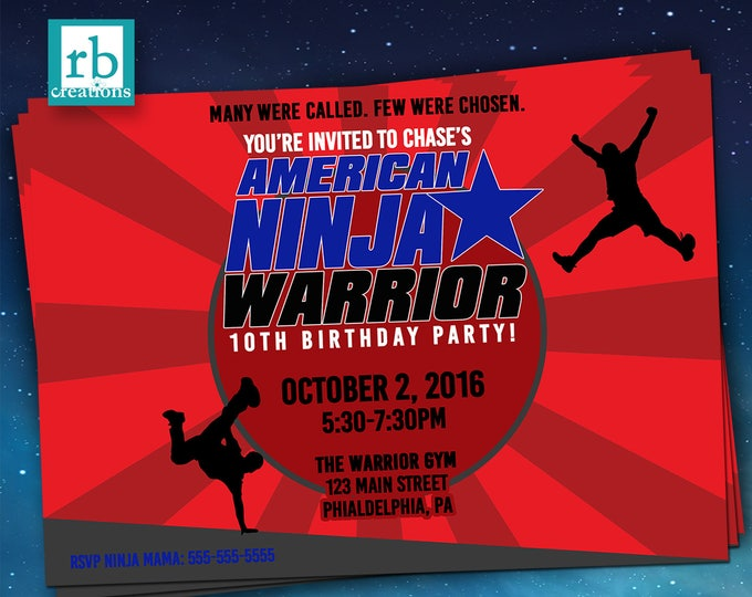 PRINTED Ninja Warrior Invitation, Ninja Warrior Party, Ninja Warrior Birthday Party, Ninja Party - Printed Party Invitations with envelopes