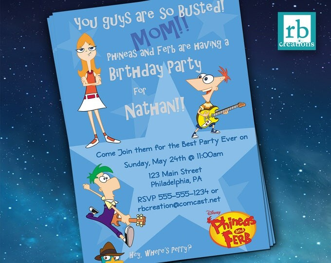 Phineas and Ferb Birthday Party Invitations, Phineas and Ferb Birthday Party, Phineas and Ferb Party - Digital Printable
