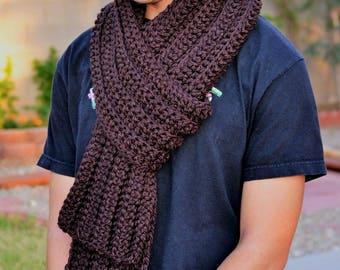 Brown Chunky Winter Scarf/ winter Fashion Scarf/ Crochet Brown Scarf/ Crochet Winter Scarf/ Chunky Fall Fashion Scarf