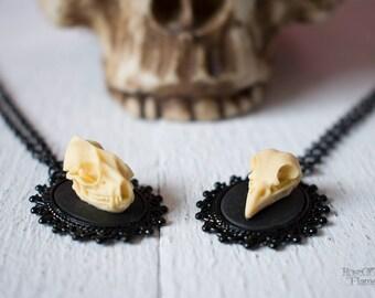 Bat skull necklace. Crow skull jewelry. Goth necklace. Goth jewelry. Gothic necklace. Halloween necklace. Halloween jewelry. Gothic jewelry