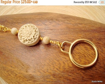 ON SALE Eyeglass Leash, Glasses Chain, Gold Glasses Holder with loop, White Cinnabar, Cinnabar Jewelry, Carved Flower Necklace, Eye glass Ne