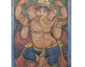 Yoga Studio Barn Door Vintage Carved Ganesha Remove obstacles, Wall Sculpture, Panel eclectic mix Decor