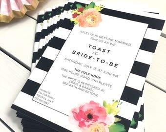 Bridal Shower Invitations - Modern Floral Framed