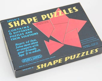 Vintage Spear's Games Shape Puzzles game in original box, 1970