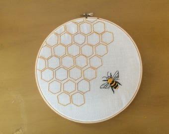 Bee & Honeycomb- Hand Embroidered Hoop Art