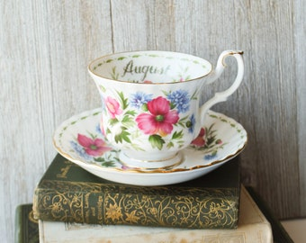 Royal Albert Poppy August Bone China Tea Cup and Saucer 1970 | Made in England | Flower of the Month Series