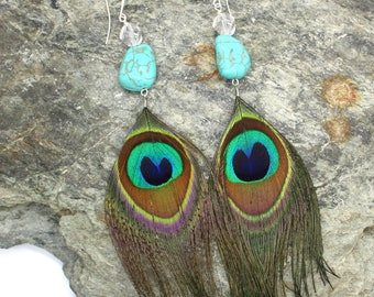 Peacock Feather Earrings - Peacock, Turquoise and Quartz Feather Earrings, Long Earrings, Feather Earrings