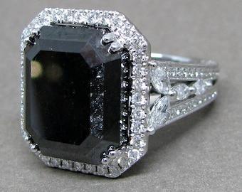 23ct Cushion Cut Black Natural Diamond Halo Engagement Ring 18k White Gold Round Marquise