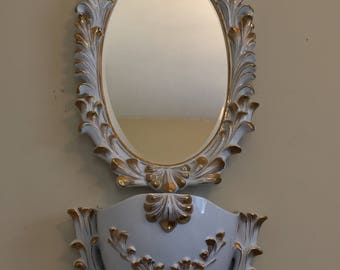 Ornate Ceramic Mirror and Planter Set Numbered
