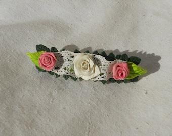 Romantic Barrette antique lace pink cold porcelain