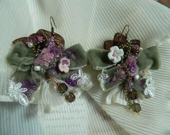 sold Velvet embroidered earrings, beaded, embellished