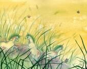 Frolicking Unicorns - fairytale art print