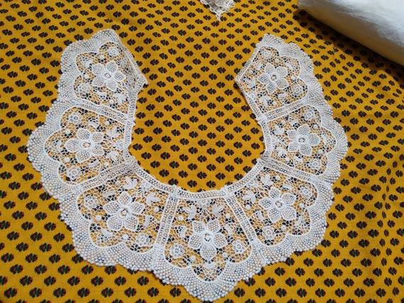 Antique White French Floral Guipure Lace Collar Cotton Bride Collar Sewing Project Applique #sophieladydeparis