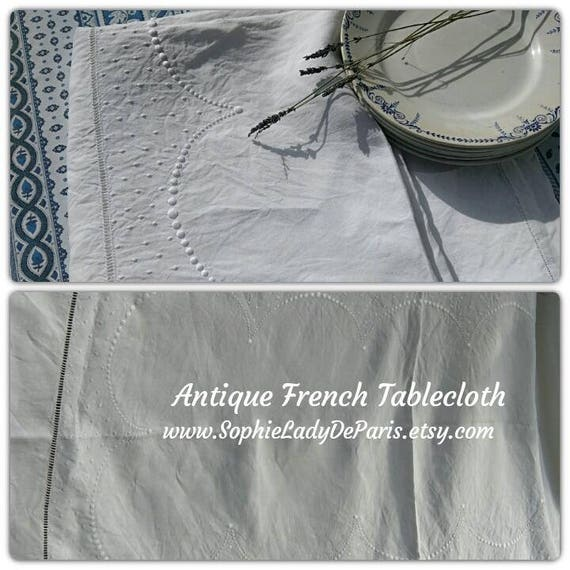 "Long White Antique French Metis Linen Tablecloth Semi Circles Dots Hand Embroidered 90"" #sophieladydeparis"