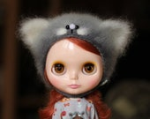 Kitty hat for blythe - gray-white