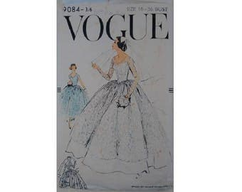 """Vintage 1950's Vogue #9084 Classic Elegant Lace Overlay Wedding Dress Bridal Gown Bridesmaid Sewing Pattern Size UK 14 Bust 36"""""""