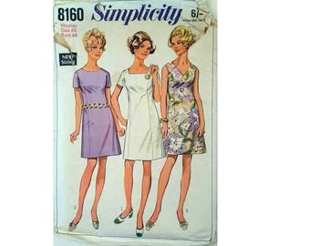 """Simplicity #8160 Vintage 60's Princess Seam Dress with Three Necklines Sewing Pattern Plus Size UK 22 Bust 44"""""""