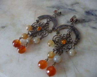 Romantic Orange pierced earrings